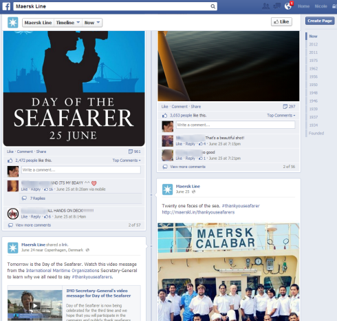 Facebook page of Maersk Line