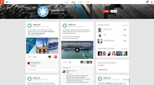 Google Plus Page of Maersk Line
